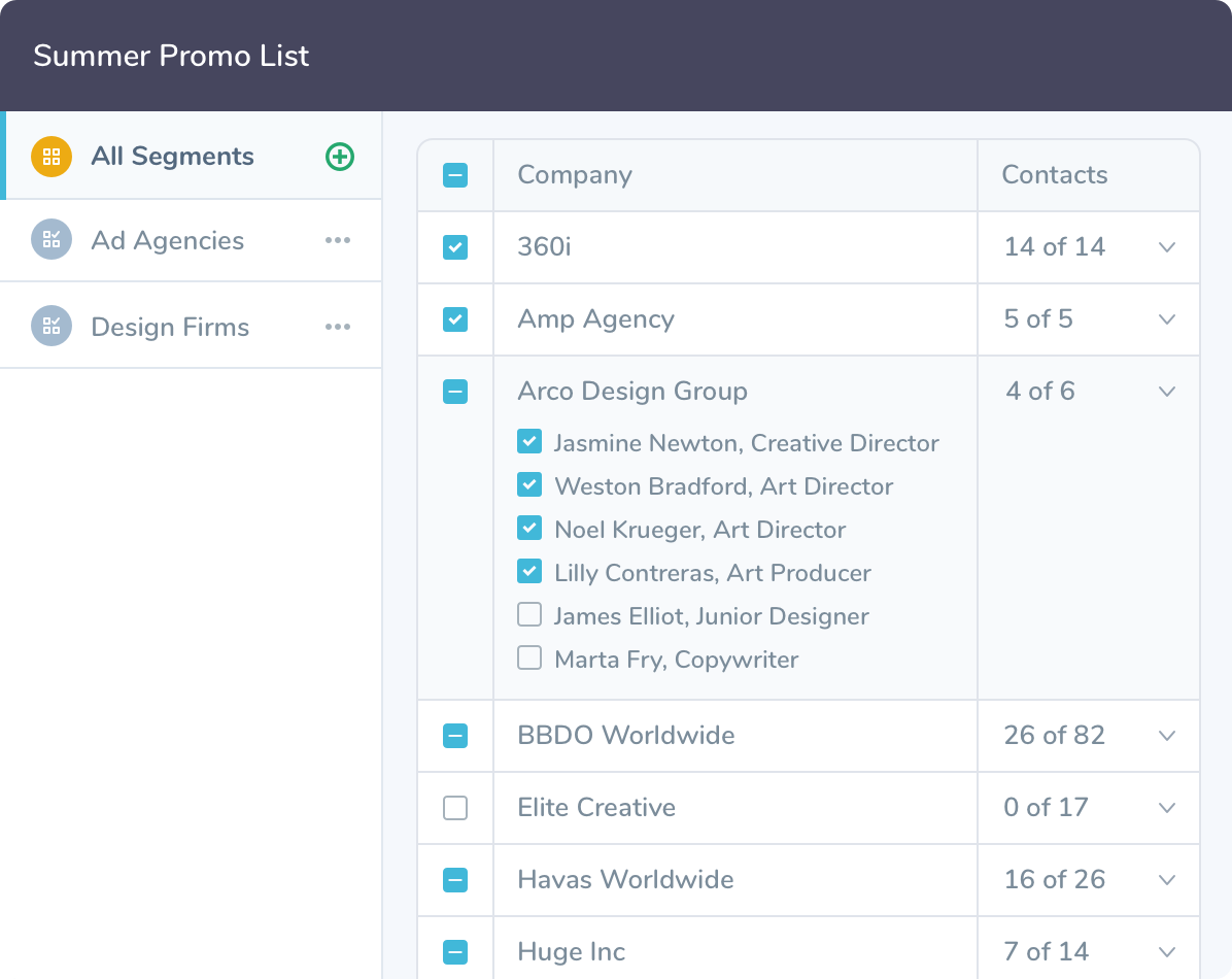 The interface of Agency Access' List Builder