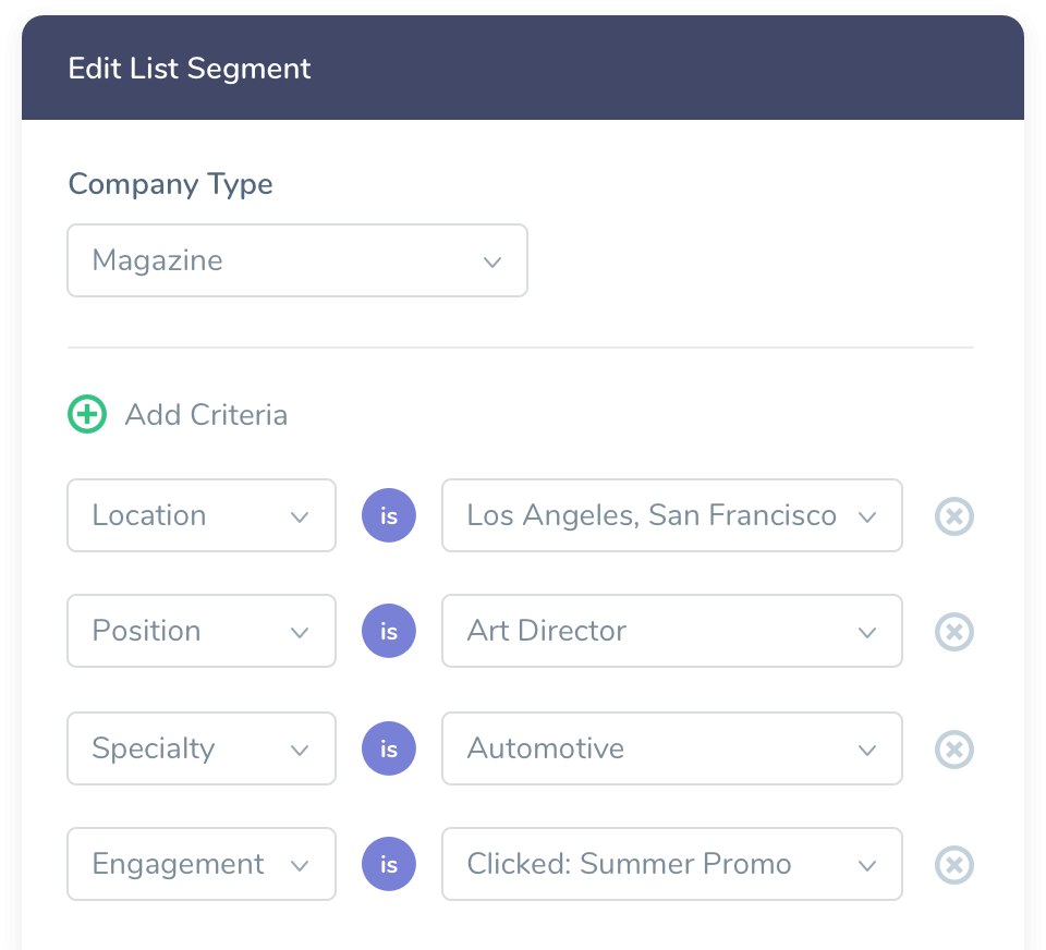 User Interface representing the available criteria used to build mailing lists in the Agency Access List Builder
